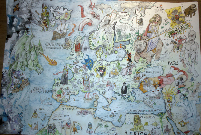 Meval map of Europe - langeland on
