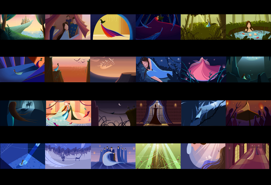 Color Script Character Design And Key Scenes For The Wild Swans A